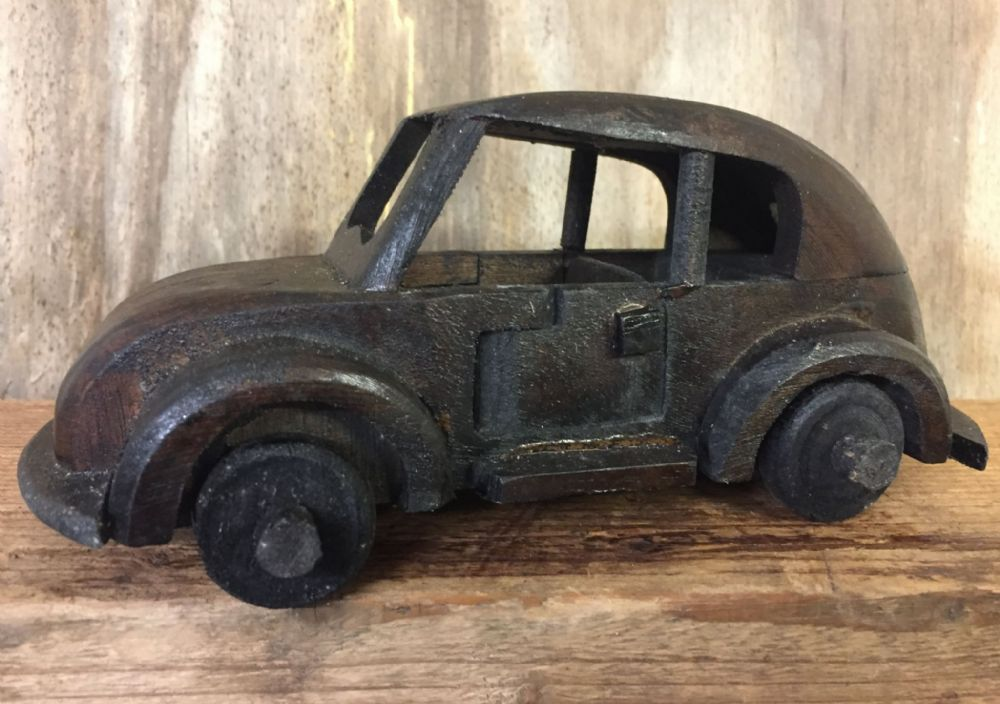 Hand Crafted Dark Wood Classic Volkswagen Car with Turning Wheels